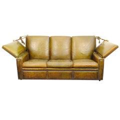 An Italian Mid Century Leather Upholstered Adjustable Sofa