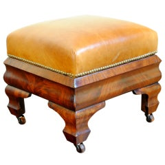 A Mahogany American Classical Period Leather Upholstered Bench
