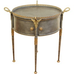 A Continental Gilt Metal Drum Table