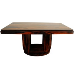 A French Art Deco Macassar Wood Extension Dining Table