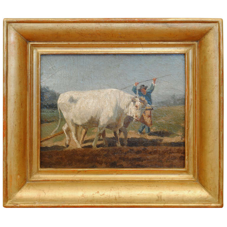 A 19th Century French Oil on Artist Board Painting in Period Giltwood Frame