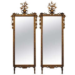 A Pair of Italian Neoclassical Style Giltwood Mirrors, 19th Century