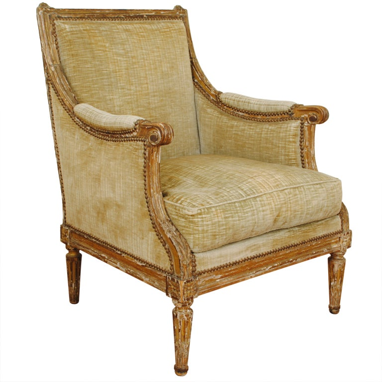a french louis xvi period giltwood and upholstered bergere at 1stdibs. Black Bedroom Furniture Sets. Home Design Ideas