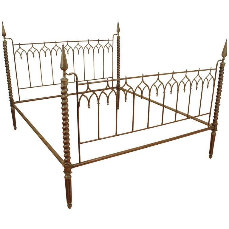 An italian cast brass neo gothic bedframe late 3rd for Gothic style beds for sale