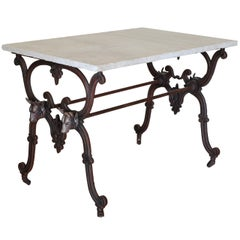 French Cast Iron Table with Daino Reale Marble Top, Last Quarter of 19th Century