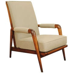 A 20th Century Elmwood and Upholstered Open Armchair