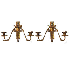 Pair of Italian Wrought and Gilt Iron Three-Light Wall Sconces