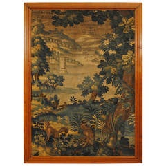 Large Framed Tapestry Fragment, France or Belgium, 18th Century