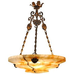 Italian Art Deco Period Alabaster and Gilt Iron Hanging Lantern