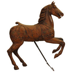 German Carved Walnut and Brass Decorated Carousel Horse