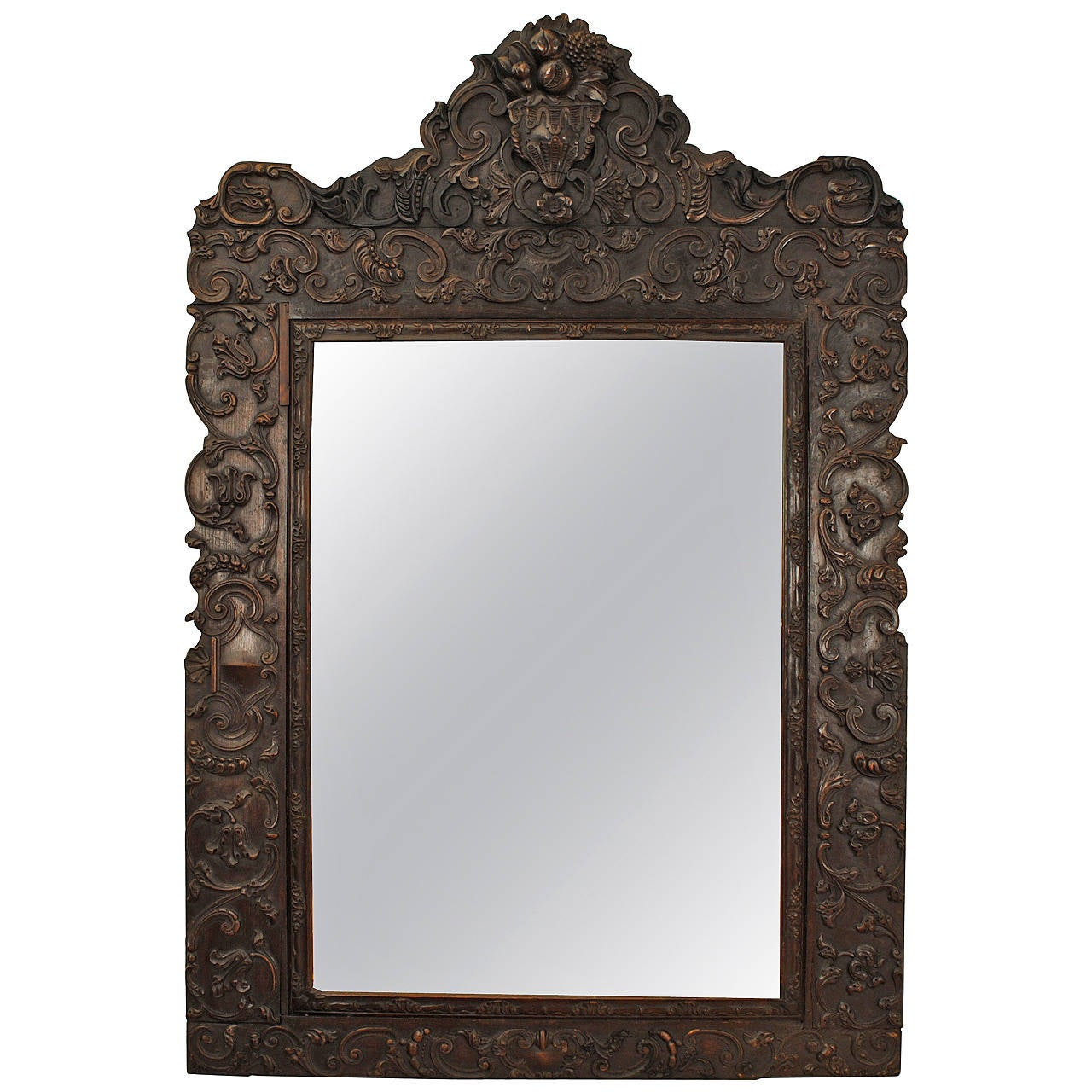 Arched gilt mirror at 1stdibs - Portuguese Rococo Sizable Carved Walnut Mirror 18th Century 1