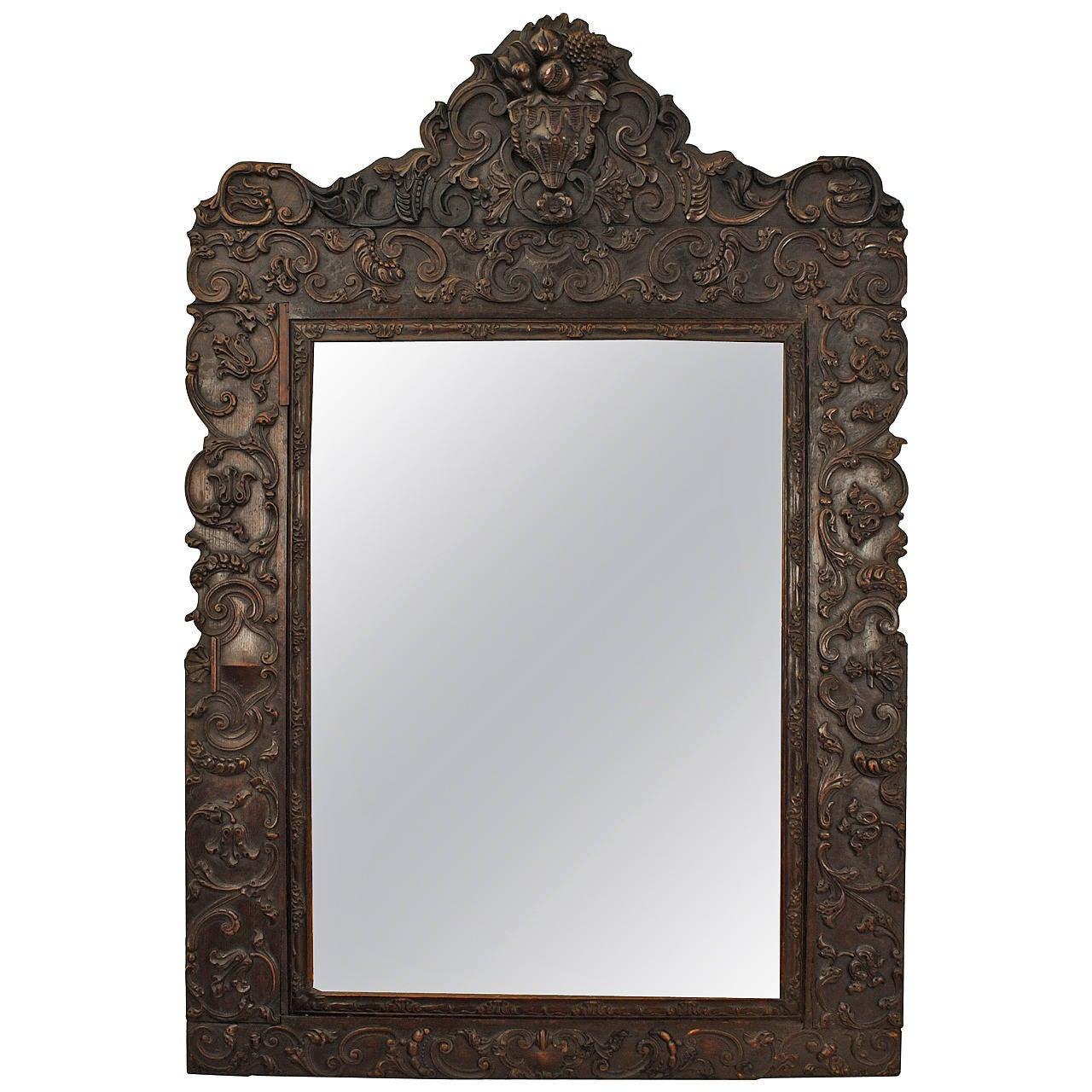 Portuguese Rococo Sizable Carved Walnut Mirror, 18th Century