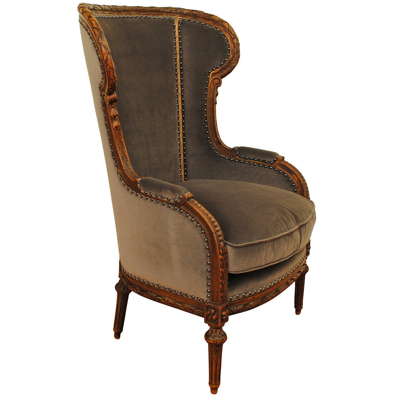 french louis xvi style carved walnut and upholstered bergere at 1stdibs. Black Bedroom Furniture Sets. Home Design Ideas