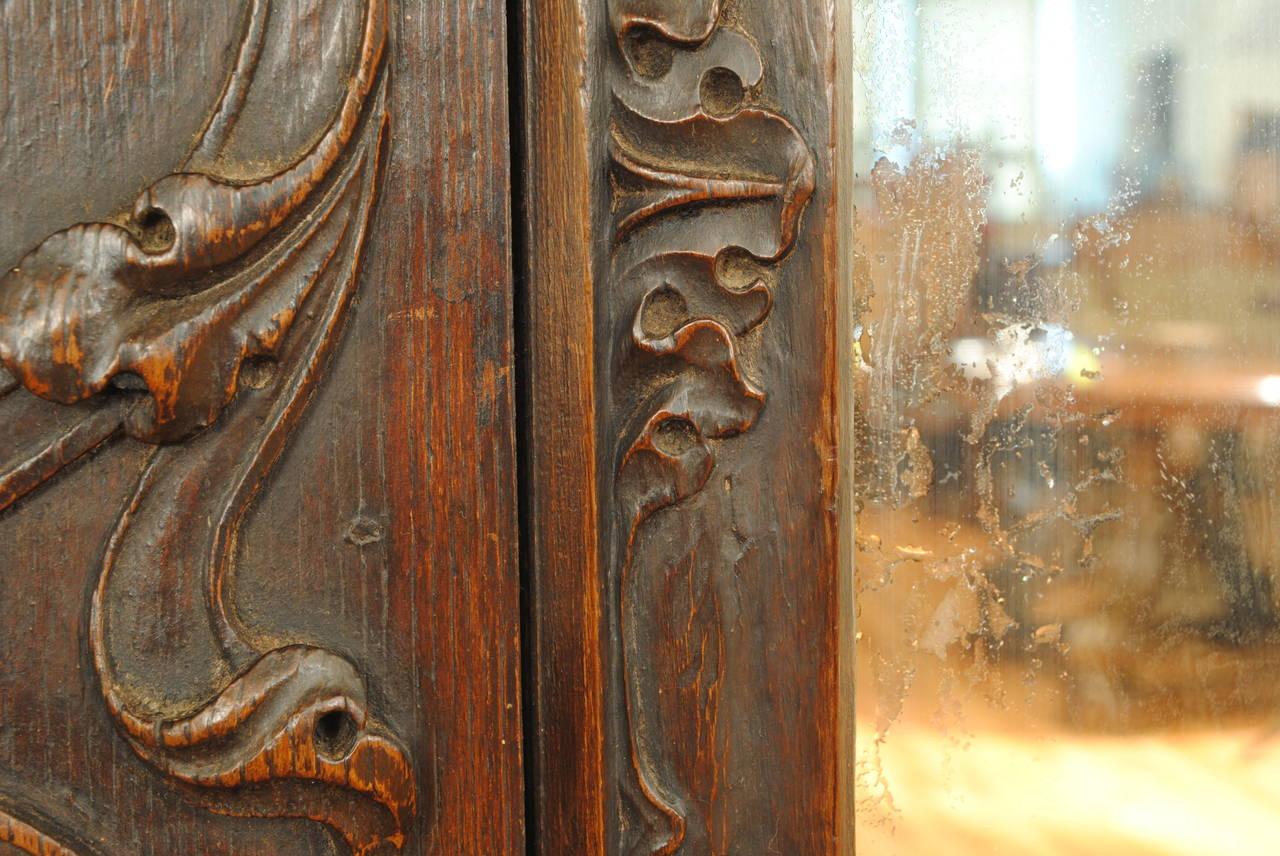 Portuguese Rococo Sizable Carved Walnut Mirror 18th