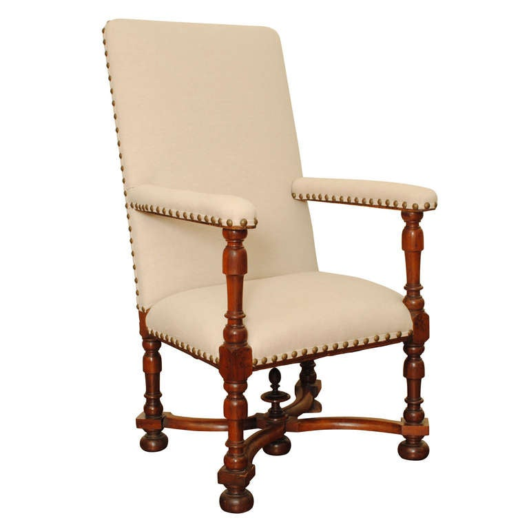 large carved walnut and upholstered fauteuil french louis xiii period for sale at 1stdibs. Black Bedroom Furniture Sets. Home Design Ideas
