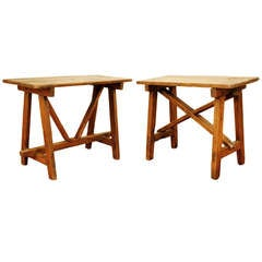 A Near Pair of Italian Baroque Pinewood Low Tables