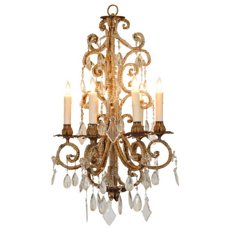 Italian Rococo Style Gilt Iron and Glass Six-Light Chandelier