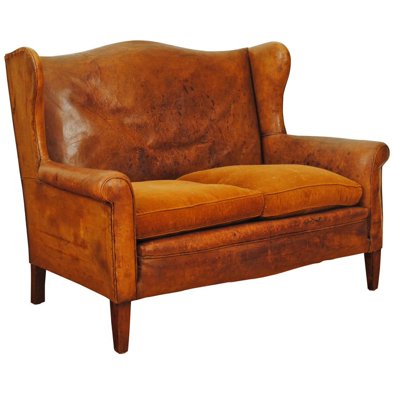 French art deco leather and velvet upholstered canap in for Canape leather sofa