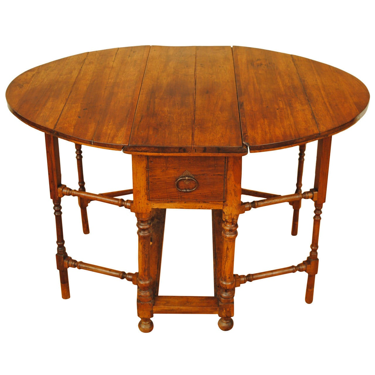 Italian Early 18th Century Light Walnut Drop Leaf Table
