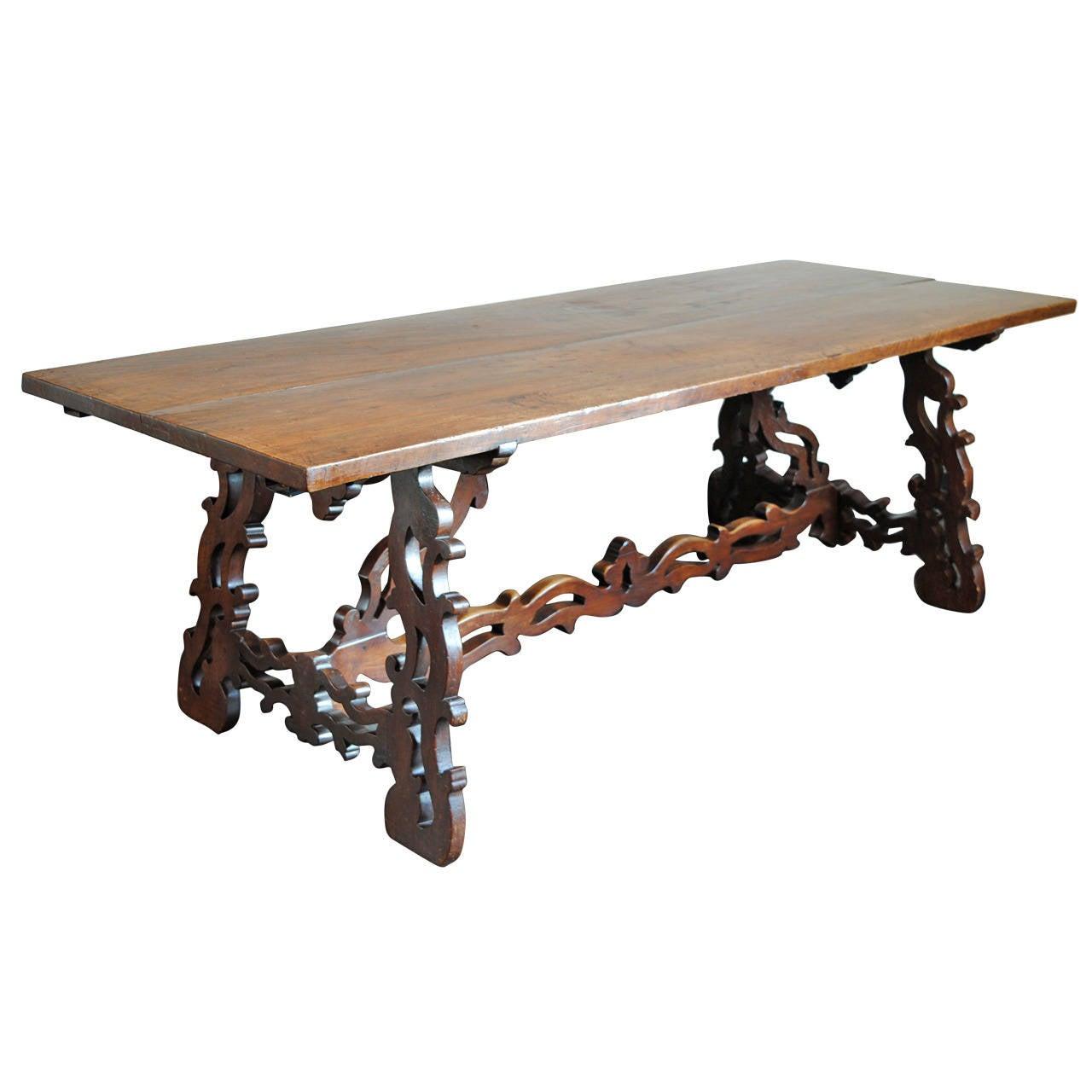 italian baroque style 19th century walnut trestle dining table 1