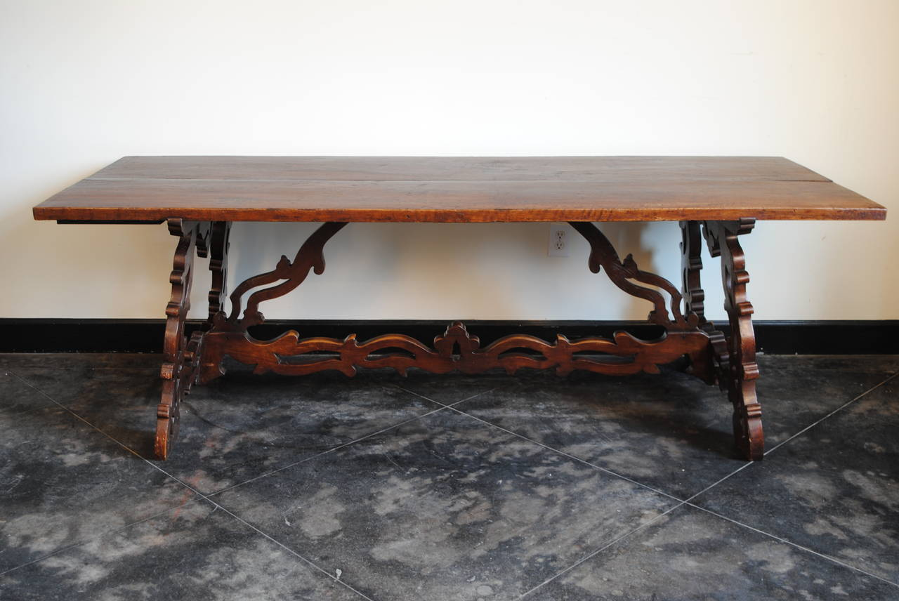 Walnut trestle dining table - Italian Baroque Style 19th Century Walnut Trestle Dining Table 2