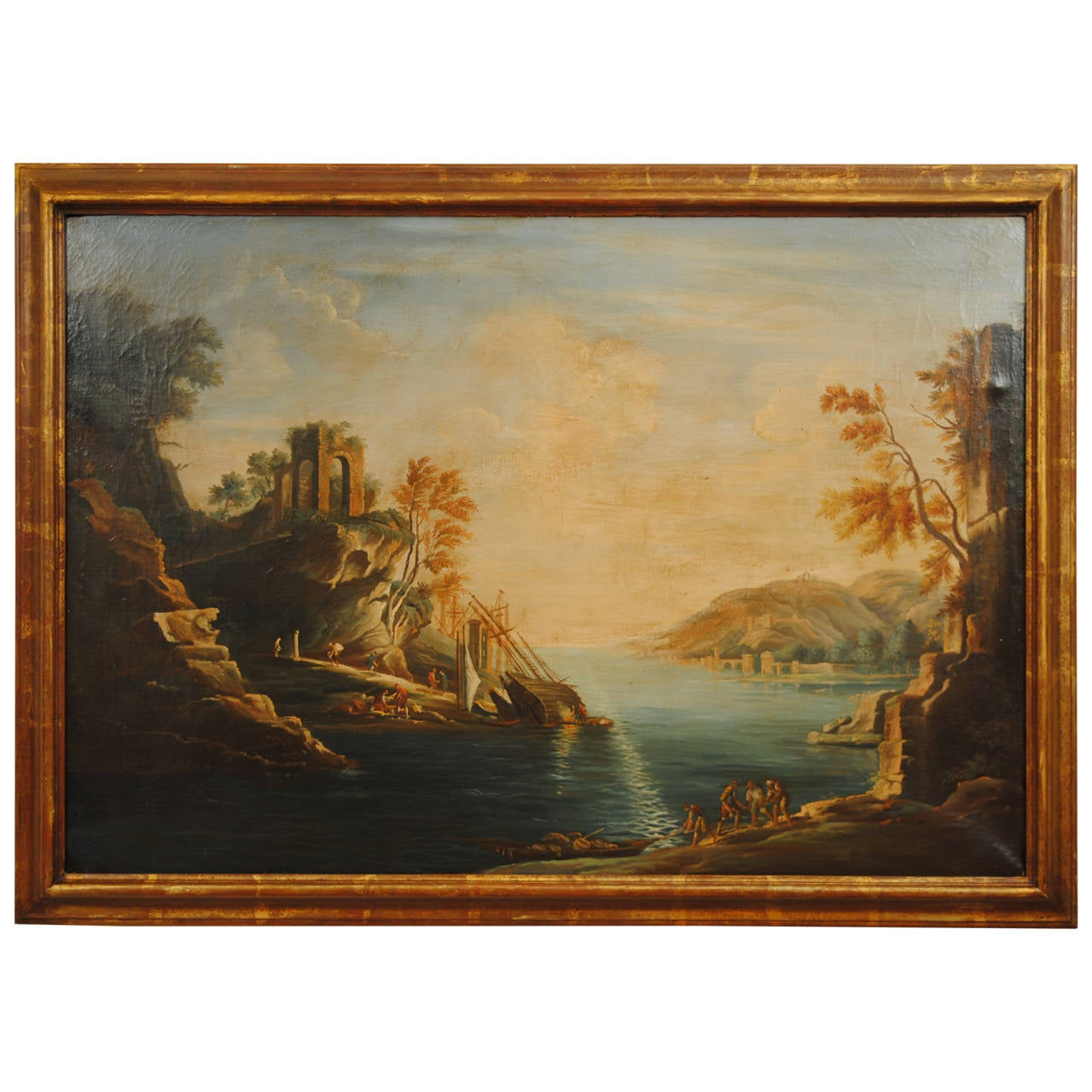 large italian capriccio oil painting circa 1900 in