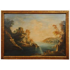 "Large Italian ""Capriccio"" Oil Painting, circa 1900, in Giltwood Frame"