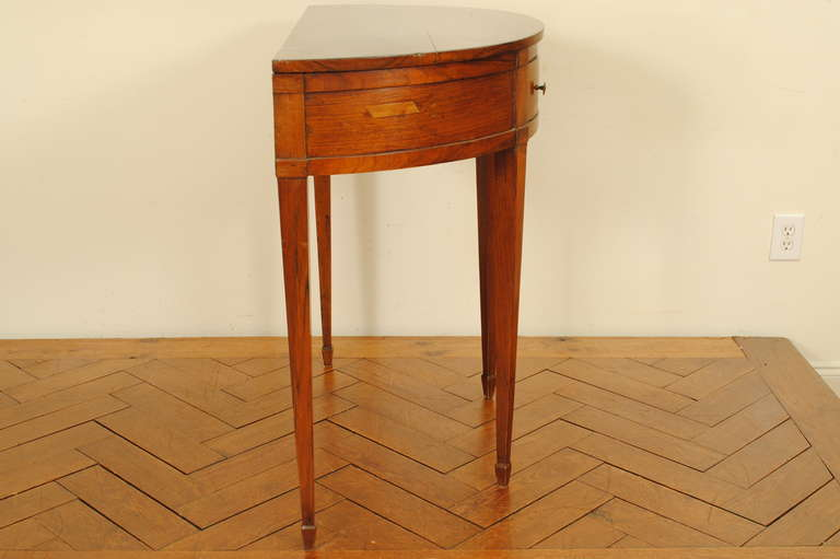 Walnut demilune 1 drawer console italian early 19th c at for Demilune console table with drawers