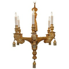 Italian Early 19th Century Neoclassical Carved Giltwood Six-Arm Chandelier
