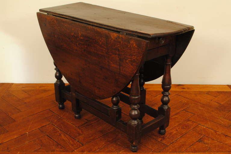 George ii oak 1 drawer gateleg table at 1stdibs - Gateleg table with drawers ...