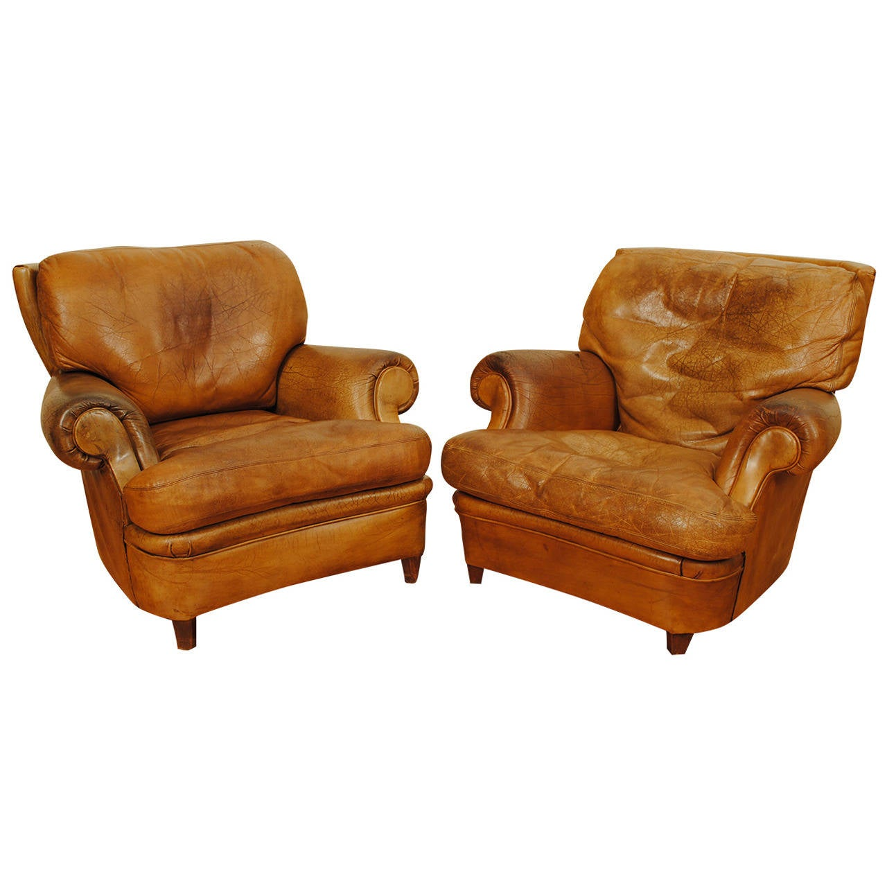 Near pair of french leather upholstered club chairs at 1stdibs for Small club chairs upholstered