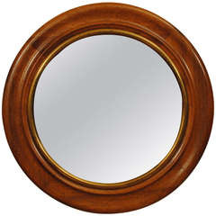 Walnut and Giltwood Concave Mirror with Convex Glass, French 19th Century