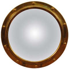 A French Neoclassic Style Brass Circular Mirror