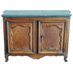 Rare Louis XIV/XV Period Carved Walnut Buffet, Marrone Fossilized Marble Top