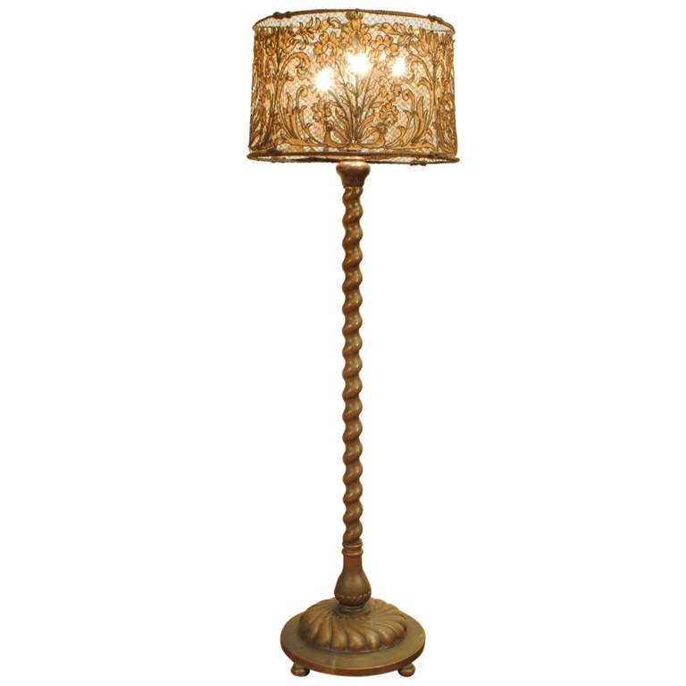 An italian baroque style cast brass floor lamp with woven for White french floor lamp