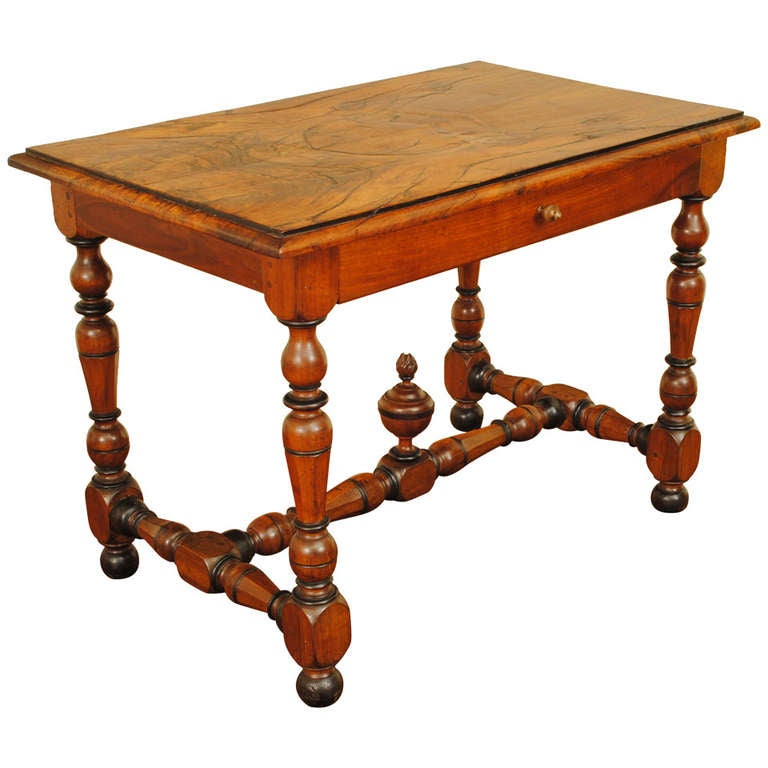 one drawer walnut and ebonized table in the louis xiii style at 1stdibs. Black Bedroom Furniture Sets. Home Design Ideas