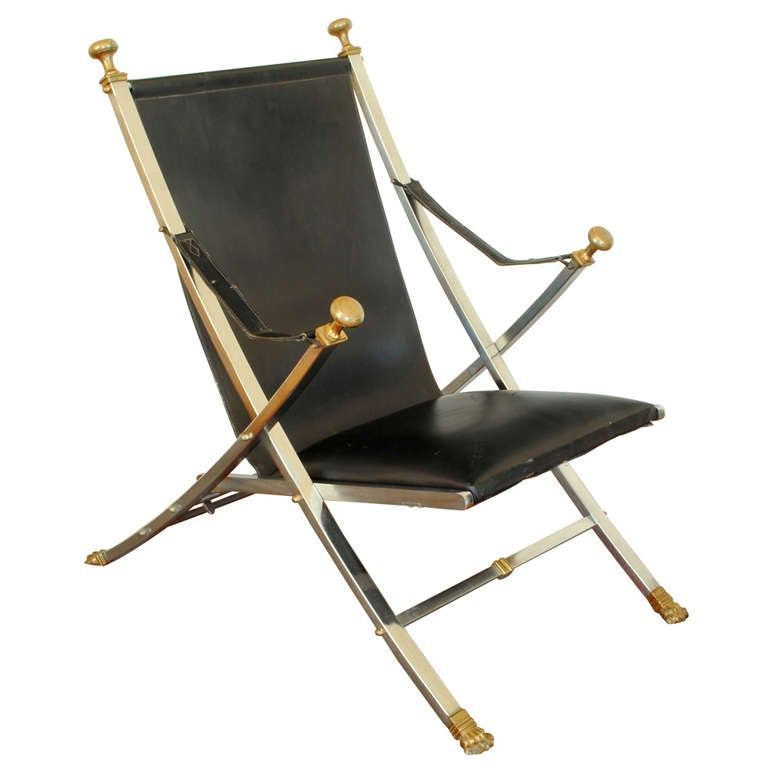 A Steel And Brass Folding Chair Attributed To Maison Jansen At 1stdibs