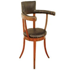 A Rare and Unusual Italian Cherrywood and Leather Upholstered Tall Chair