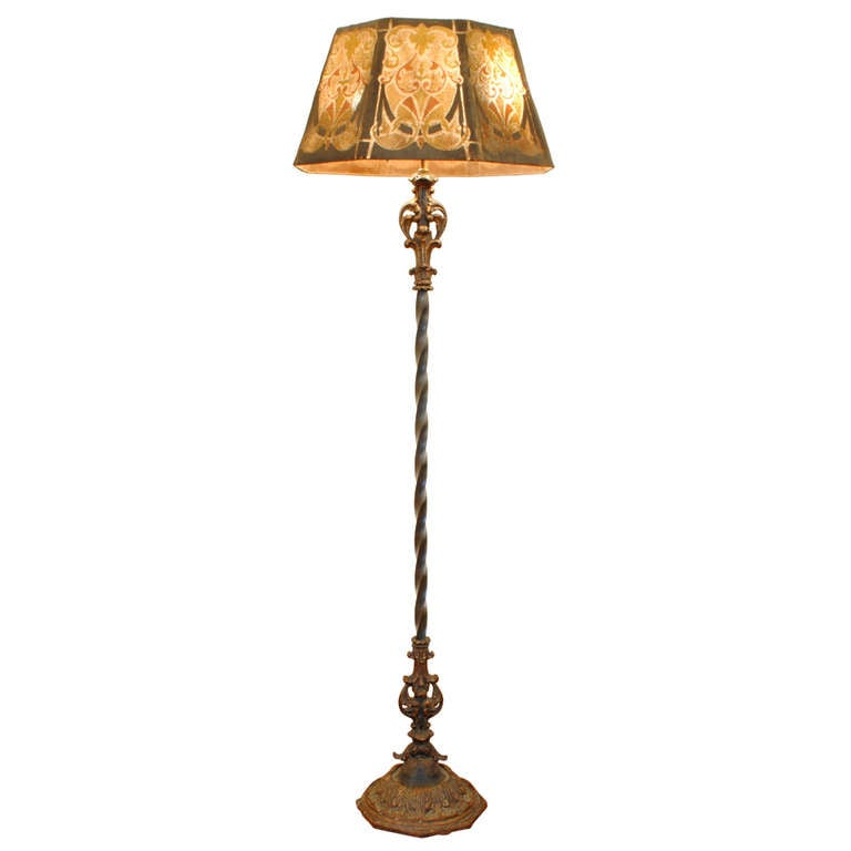 Craft Floor Lamps: An Arts And Crafts Painted Iron And Metal Floor Lamp With