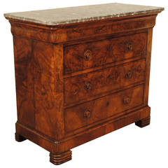 French, Louis Philippe Burled Walnut 3-Drawer Marble-Top Commode