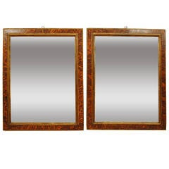 Pair of Italian Late Baroque Period Faux Tortoise Painted Frames or Mirrors