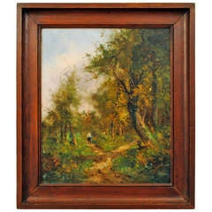 """A French Oil On Canvas In Wooden Frame, """"Man On A Path"""""""