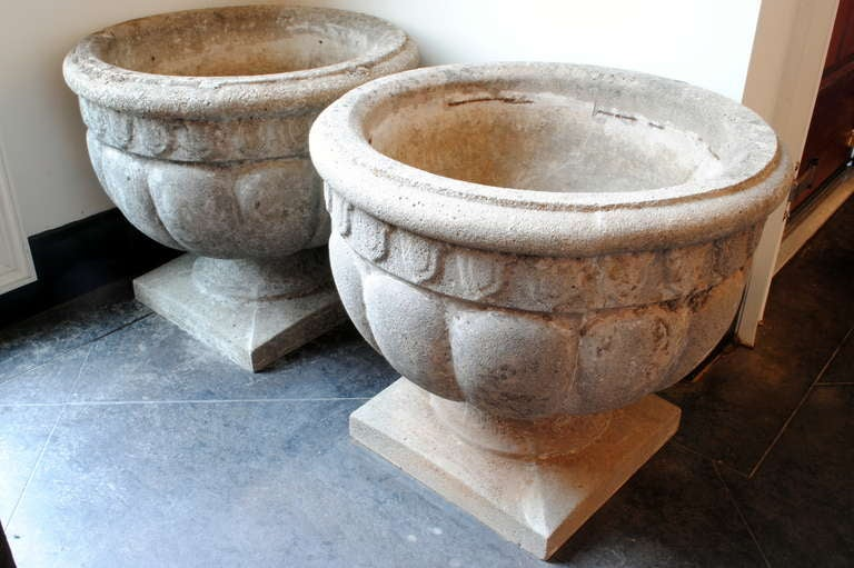 A pair of french neoclassical inspired cast cement garden urns at 1stdibs - Casting concrete planters ...