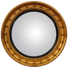 French, Neoclassical Round Giltwood Mirror with Original Convex Mirrorplate