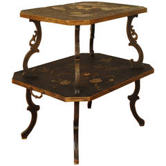 French, Parisian, Two-Tiered Chinoiserie Painted Tray Table