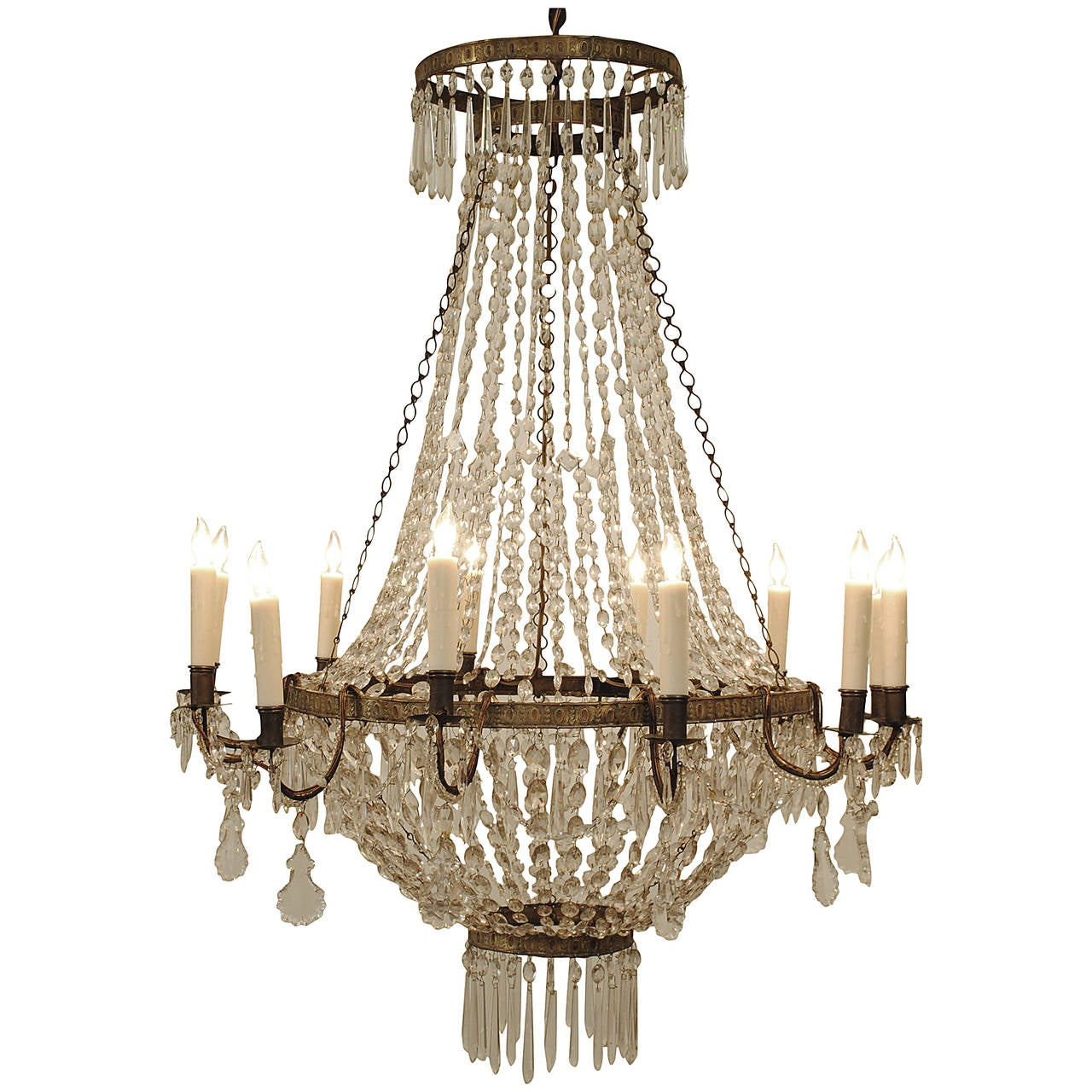 Glass Ring Chandelier: Italian Neoclassical, Stamped Brass And Glass Four-Ring 12