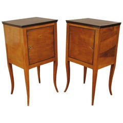 Pair of Italian Neoclassic Fruitwood and Ebonized Bedside Commodes