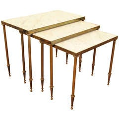A Set of Three Louis XVI Style Brass and Marble Nesting Tables