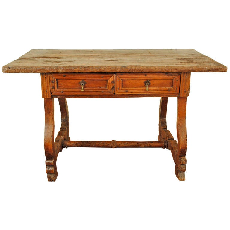 A 17th Century Portuguese Chestnut and Walnut Two Drawer ...