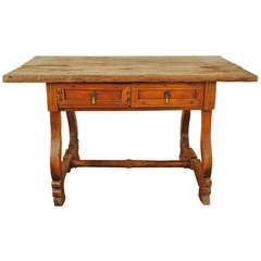 A 17th Century Portuguese Chestnut and Walnut Two Drawer Table